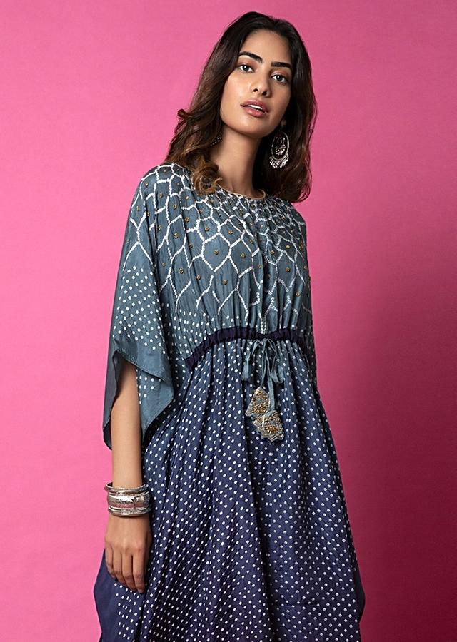 Midnight Blue And Navy Blue Ombré Kaftan And Straight Pants Set With Bandhani And Hand Embroidery Online - Kalki Fashion