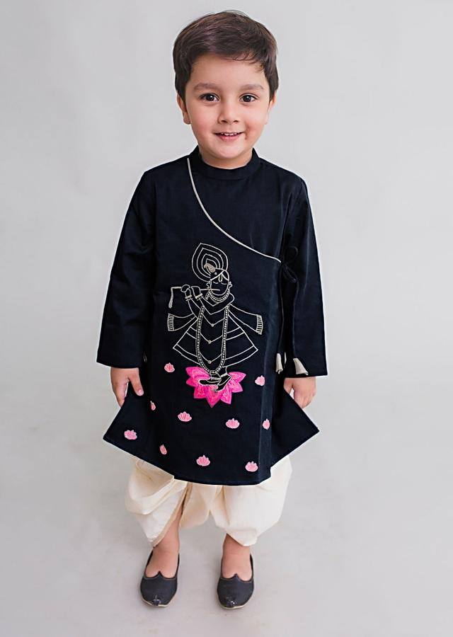 Midnight Blue Angrakha Style Kurta Set With Zari Embroidered Krishna Artwork By Tiber Taber