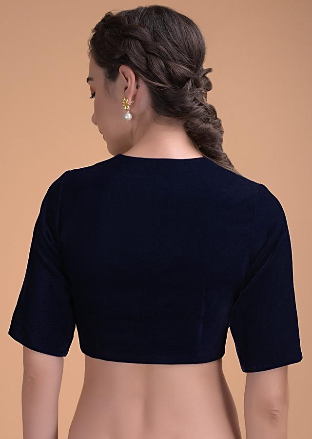 Midnight Blue Blouse In Velvet With A Zari Lace Defining The Neckline Online - Kalki Fashion