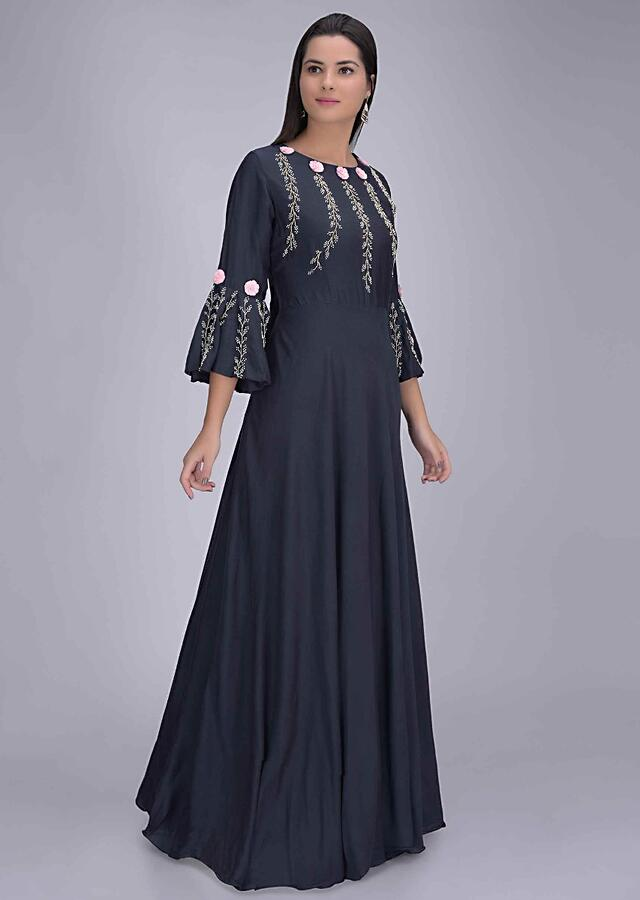 Midnight Blue Gown In Cotton With Embellished Bodice Online - Kalki Fashion