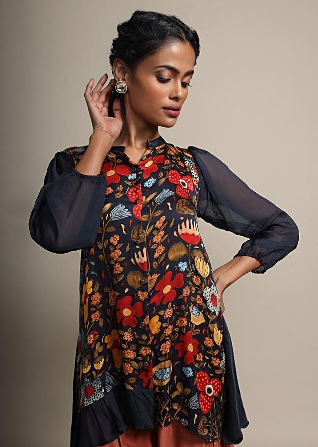 Midnight Blue Digital Floral Printed Top With Contrasting Brown Pants Online - Kalki Fashion