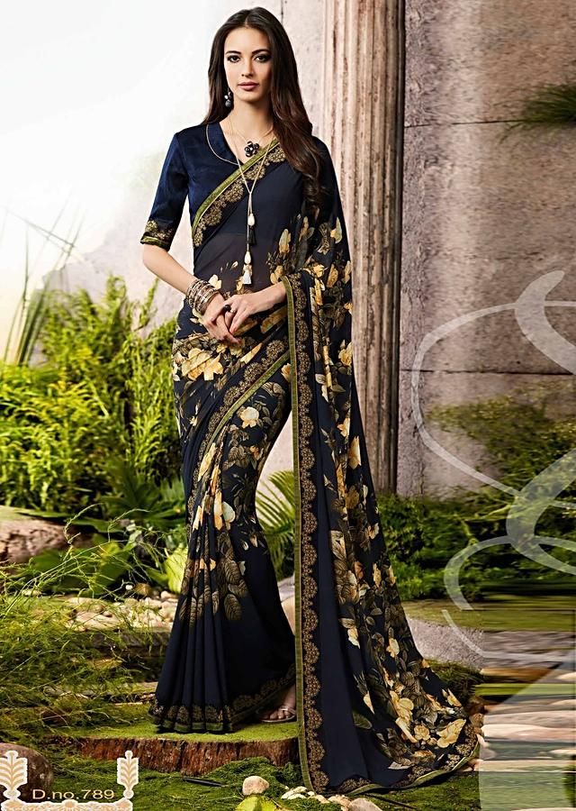 Midnight Blue Saree In Georgette With Yellow Floral Print Online - Kalki Fashion