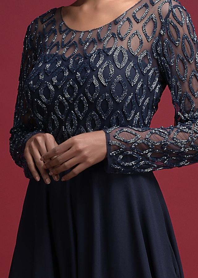 Midnight Blue Gown In Crepe With Cut Dana Embellished Bodice Online - Kalki Fashion