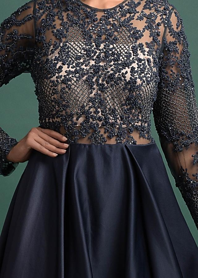 Midnight Blue Gown In Milano With Embellished Net Bodice Online - Kalki Fashion