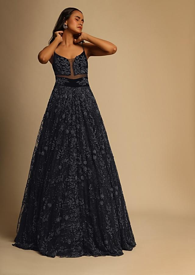 Midnight Blue Gown In Net With Sheer Cutouts In The Front And Heavily Embroidered Using Beads And Sequins Online - Kalki Fashion