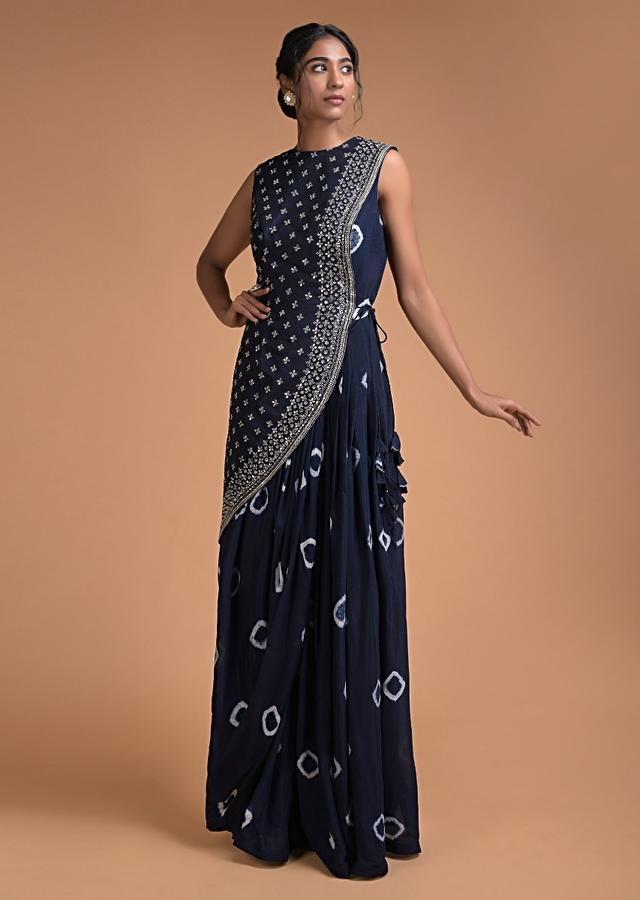 Midnight Blue Indowestern Gown With Tie Dye Printed Buttis And Mirror Embellished Half Jacket Online - Kalki Fashion