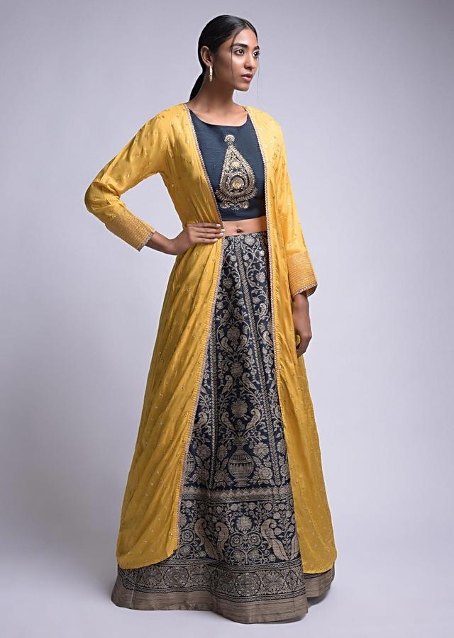 Midnight Blue Lehenga Choli In Brocade Silk With Yellow Jacket Online - Kalki Fashion