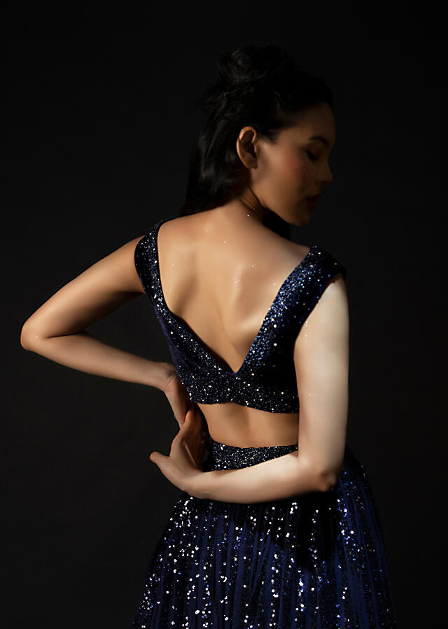 Midnight Blue Lehenga In Striped Sequins With Hand Embroidered Velvet Crop Top And Ruffle Dupatta Online - Kalki Fashion