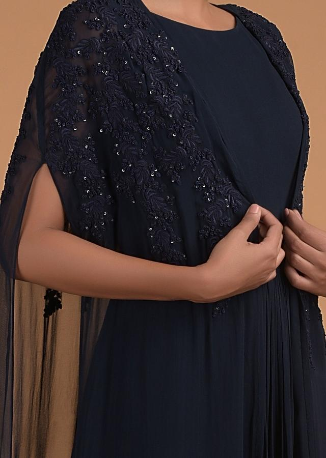 Midnight Blue Long Dress In Georgette With Long Floor Length Cape Online - Kalki Fashion