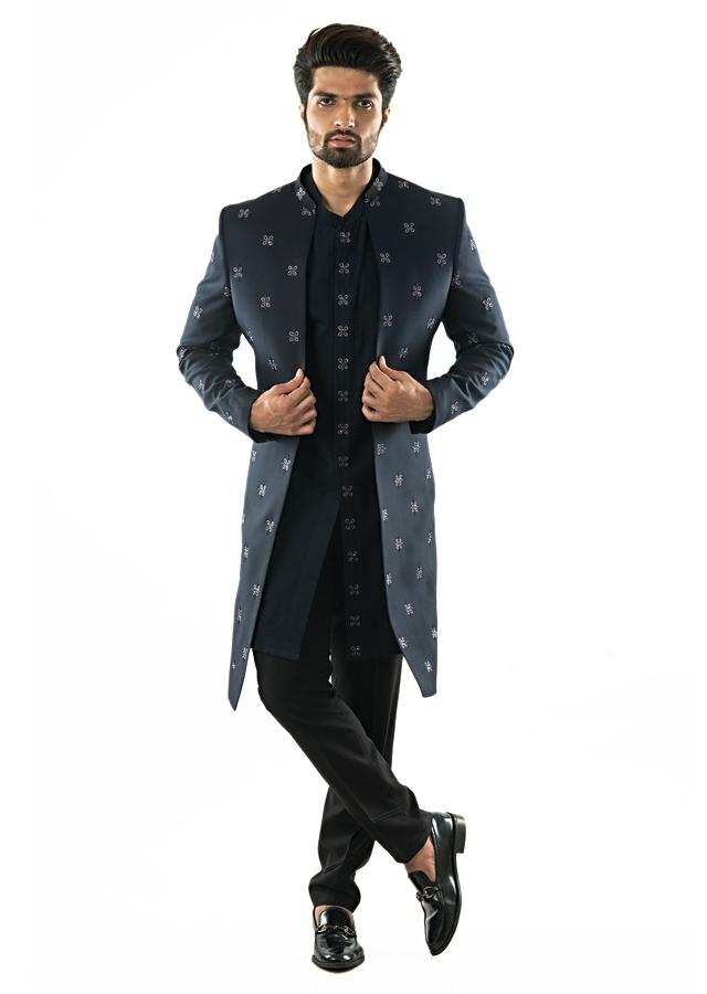Midnight Blue Open Front Achkan With Overall Motif Embroidery And With A Shirt Kurta And Slim Fit Trousers Online - Kalki Fashion