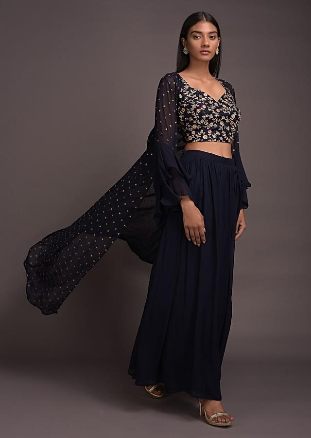 Midnight Blue Palazzo Suit And Long Jacket With Ruffle Sleeves And Jaal Embroidered Crop Top Online - Kalki Fashion