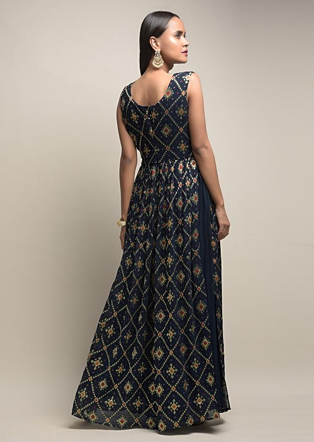 Midnight Blue Palazzo Suit In Georgette With Woven Geometric Jaal And Bandhani Design Online - Kalki Fashion