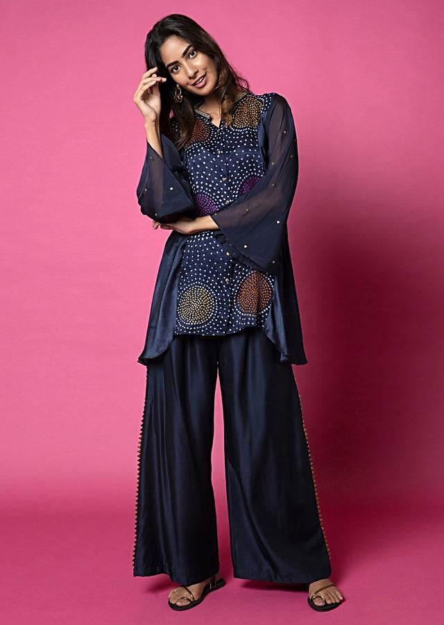 Midnight Blue Palazzo Suit With Multi Colored Bandhani On The Flared Button Down Tunic Online - Kalki Fashion