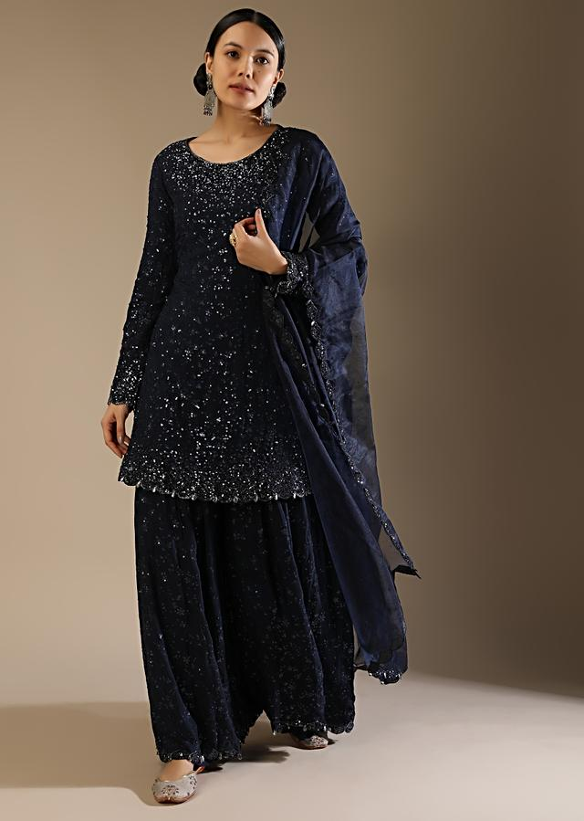 Midnight Blue Palazzo Suit With Sequins Work All Over And A Scallop Cut Border With Tassel Detailing Online - Kalki Fashion