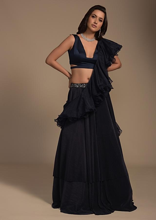 Midnight Blue Plain Lehenga And Crop Top Set With Plunging Trapeze Neckline And Ruffle Dupatta  Online - Kalki Fashion