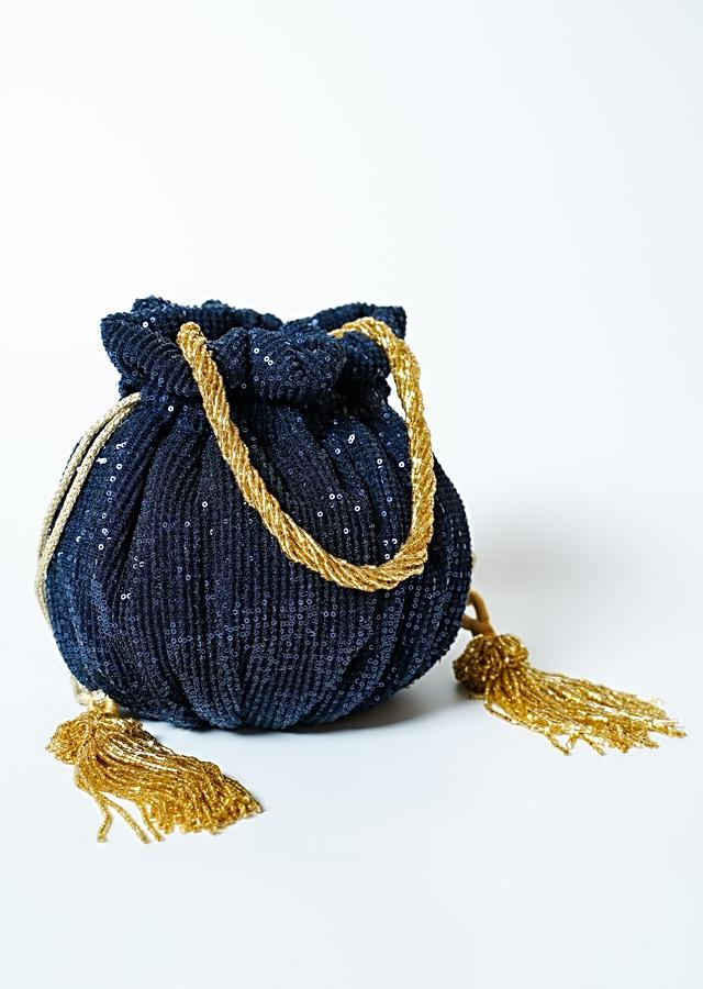 Midnight Blue Potli Bag In Sequins Fabric With Cut Dana Tassels And Handle By Solasta