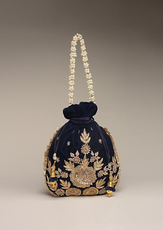 Midnight Blue Potli Bag In Velvet With Hand Embroidered Floral Motif Using Sequins And Zardosi Online - Kalki Fashion