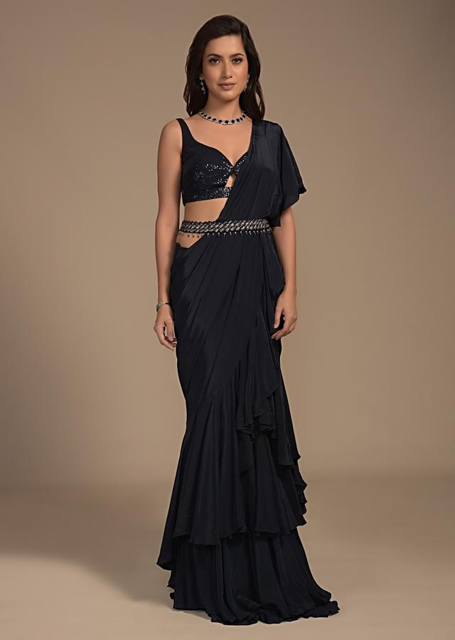Midnight Blue Ready Pleated Ruffle Saree And Sequins Blouse With Front Cut Out Online - Kalki Fashion