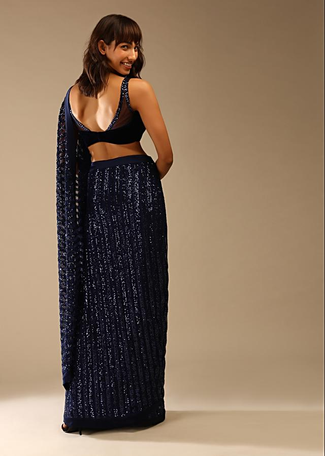 Midnight Blue Ready Pleated Saree In Striped Sequins Fabric With A Matching Velvet Blouse Embellished In Sequins On The Straps Online - Kalki Fashion