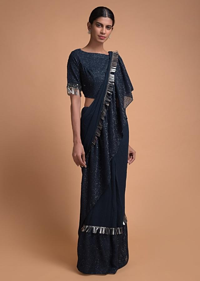 Midnight Blue Saree In Chiffon Blend With Fancy Ruffle Tier Online - Kalki Fashion