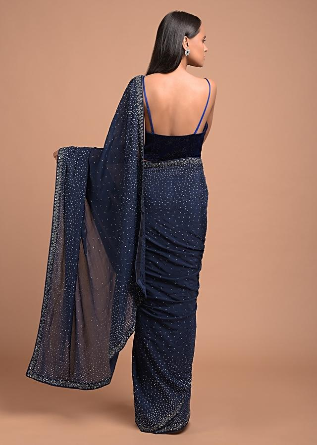 Midnight Blue Saree In Chiffon With Scattered Sequins All Over And Mirror Work On The Border Online - Kalki Fashion