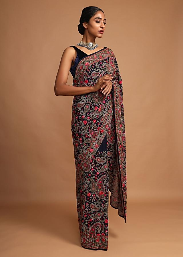 Midnight Blue Saree In Georgette With Kashmiri Embroidery In Paisley And Floral Jaal Online - Kalki Fashion