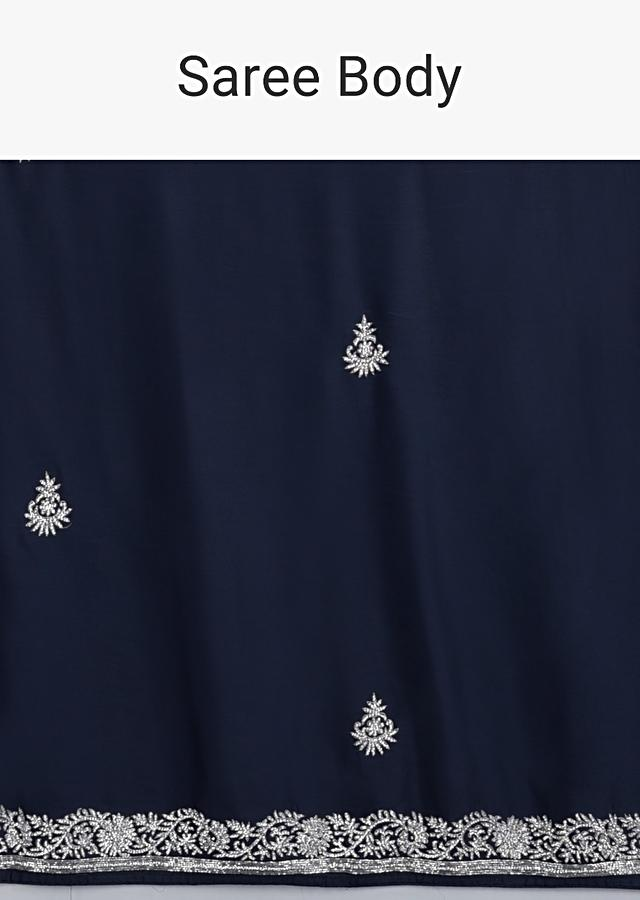 Midnight Blue Saree In Satin Embellished With Stones And Zari Work Online - Kalki Fashion