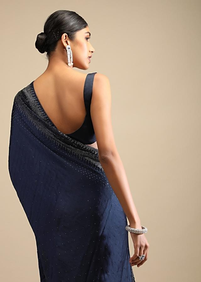 Midnight Blue Saree In Satin With Scattered Sequins And Heavy Embellished Border Online - Kalki Fashion