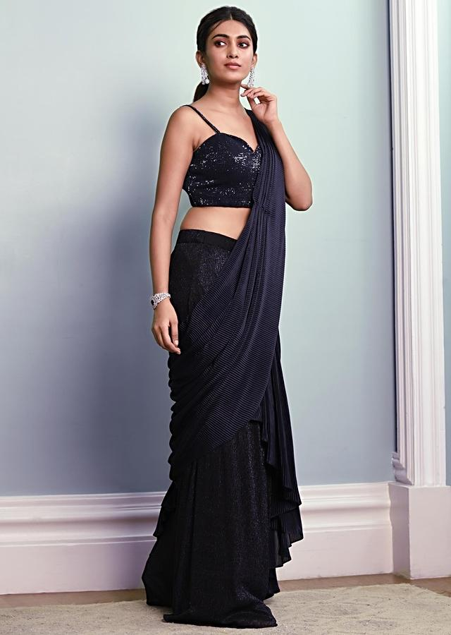 Midnight Blue Saree In Shimmer Lycra With Pleated Lycra Ready Stitched Pallu Online - Kalki Fashion