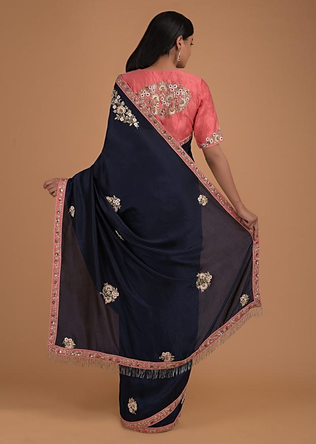 Midnight Blue Saree In Silk And Peach Blouse With Floral Embroidery Online - Kalki Fashion