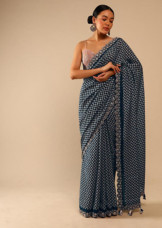Midnight Blue Saree In Soft Silk With Printed Floral Buttis In Checks Design And Gotta Embroidered Border Online - Kalki Fashion