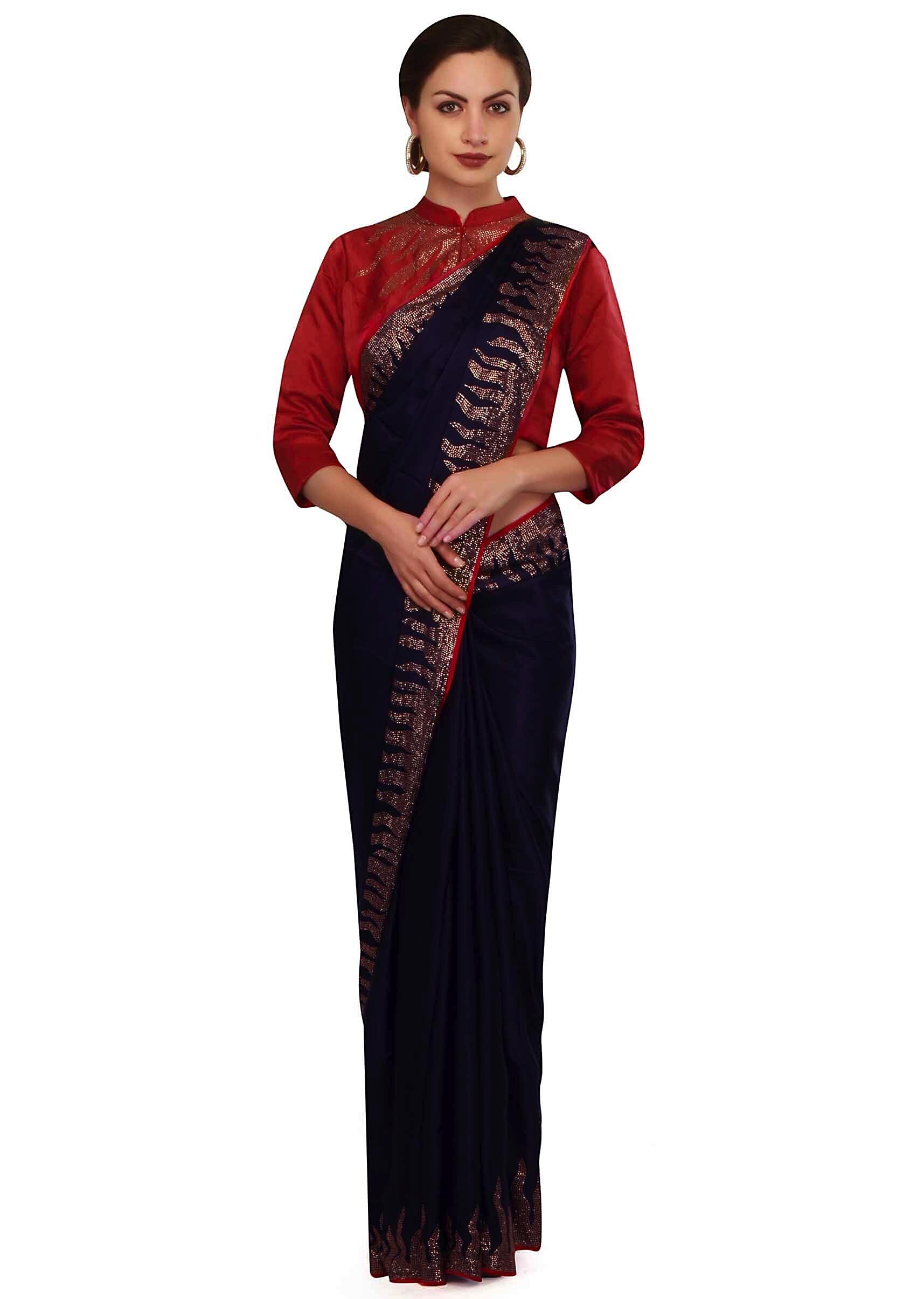 6844a032cbc778 Midnight blue saree with red embroidered stitched blouse only on Kalki