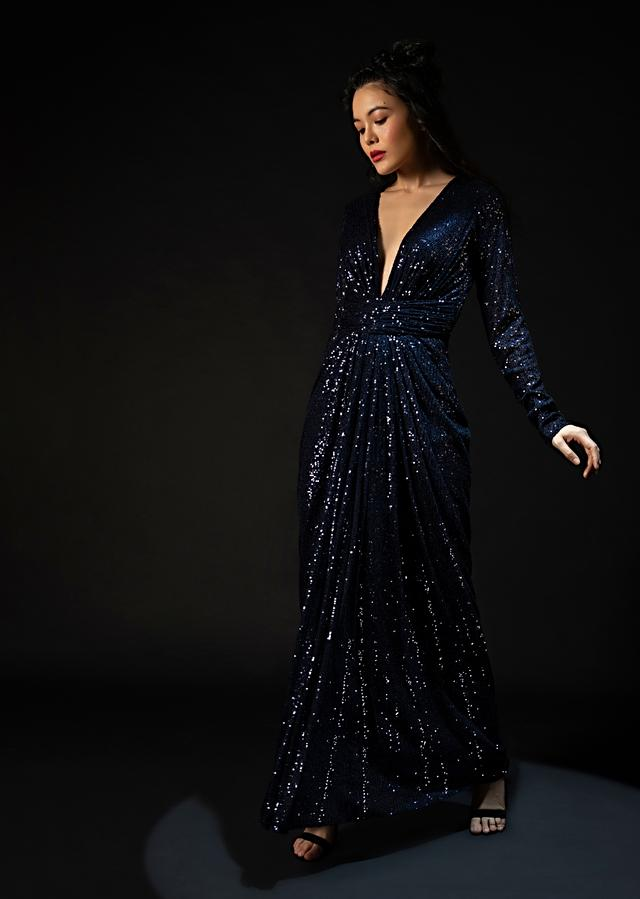 Midnight Blue Sequins Gown With Plunging V Neckline And Ruched Belt Along With Gathers In The Front Online - Kalki Fashion