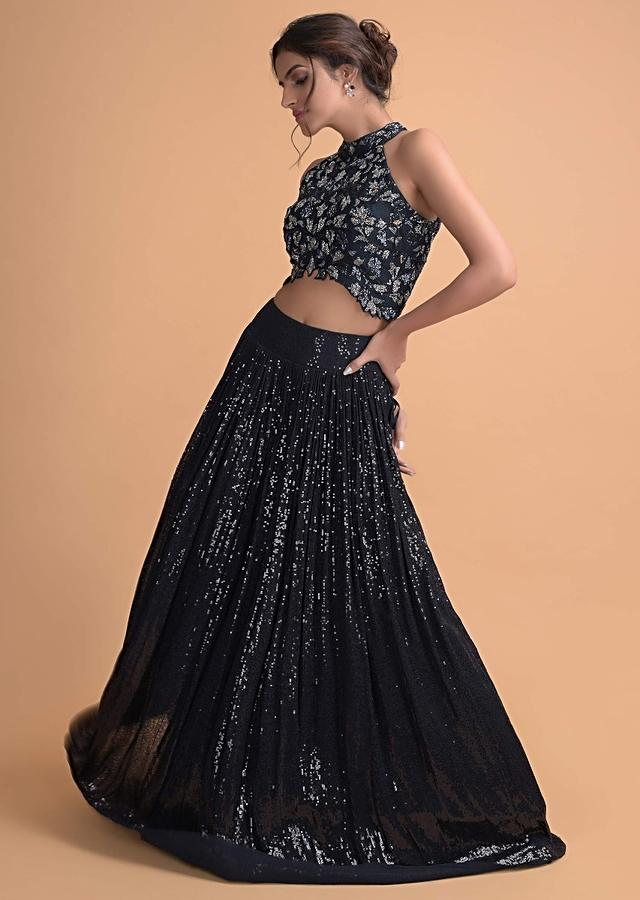 Midnight Blue Sequins Skirt With A Floral Embroidered Crop Top Online - Kalki Fashion