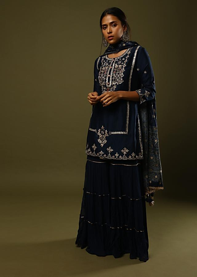 Midnight Blue Sharara Suit In Cotton Adorned In Mirror, Thread And Zari Embroidery And Printed Dupatta Online - Kalki Fashion