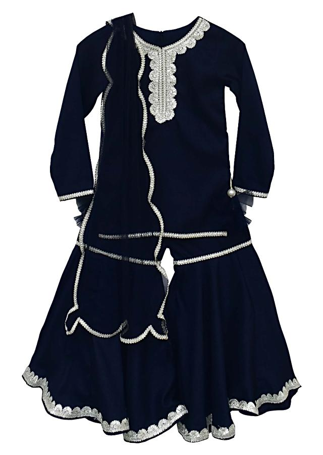 Midnight Blue Sharara Suit In Croma Silk Adorned With Zari Lace By Fayon Kids