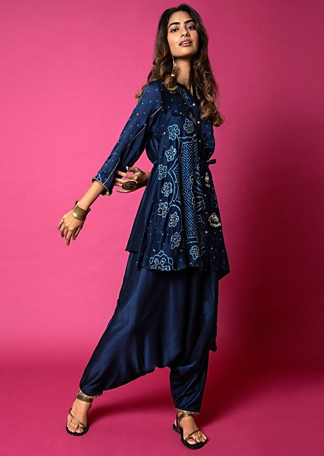 Midnight Blue Shirt And Cowl Pants Set With Mandala Bandhani Print And Hand Embroidered Using Antique Sequins And Beads Online - Kalki Fashion