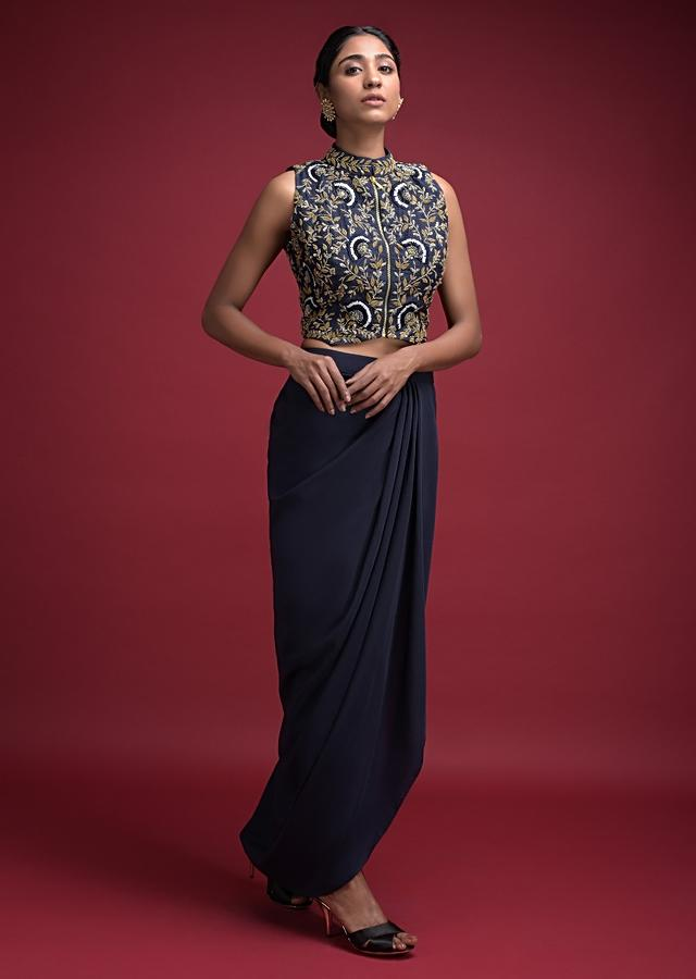 Midnight Blue Skirt With Cowl Drape And Floral Jaal Embroidered Crop Top Online - Kalki Fashion