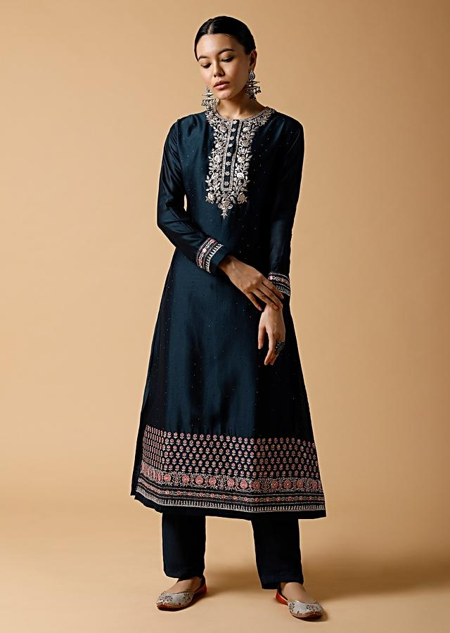 Midnight Blue Straight Cut Suit In Cotton Blend With Zardosi Work And Colorful Resham Embroidered Dupatta Online - Kalki Fashion