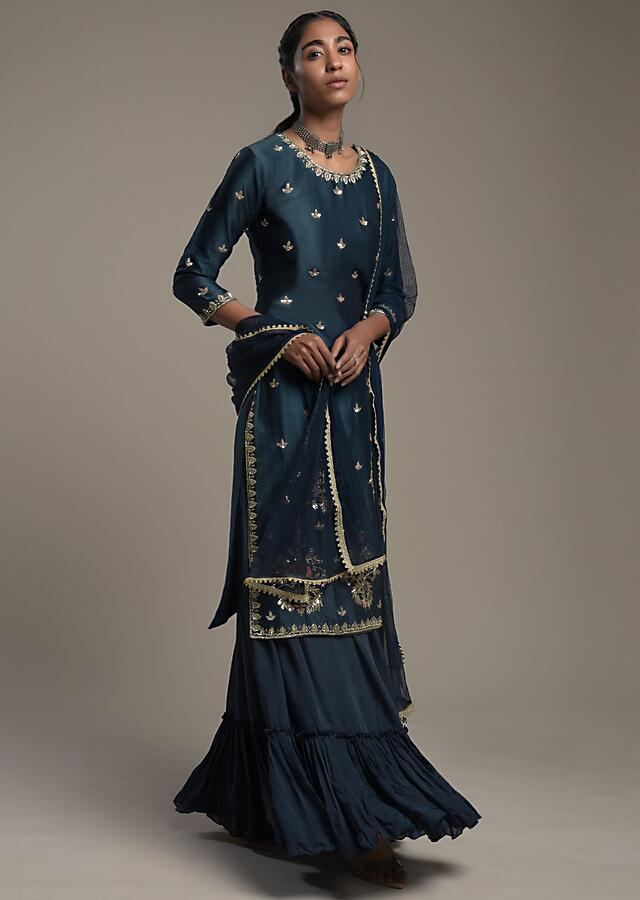 Midnight Blue Straight Cut Suit With Zari Embroidered Buttis And Flared Skirt Bottom Online - Kalki Fashion