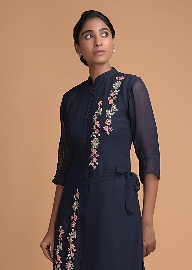 Midnight Blue Suit With Asymmetric Hemline And 3D Floral Embroidery Online - Kalki Fashion