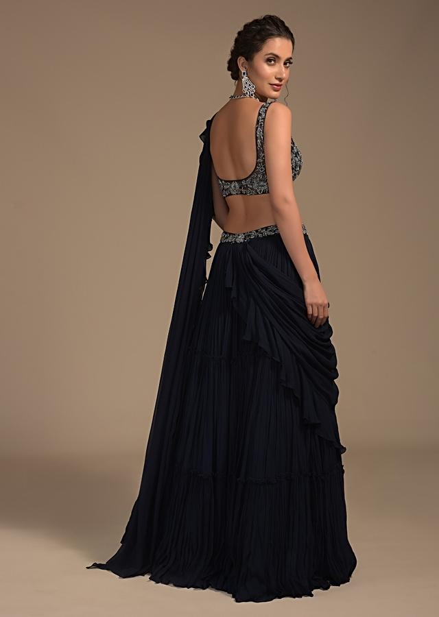 Midnight Blue Tiered Lehenga With Attached Ruffle Dupatta And Heavy Embroidered Crop Top Online - Kalki Fashion