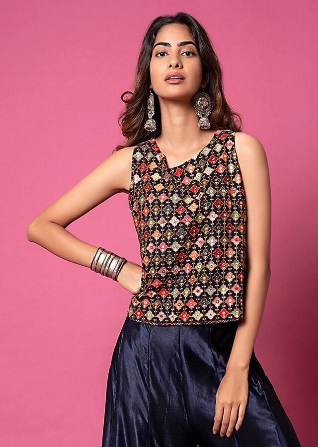 Midnight Blue Top And Paneled Sharara Pants With Thread Embroidery And Tassel Detailing Online - Kalki Fashion