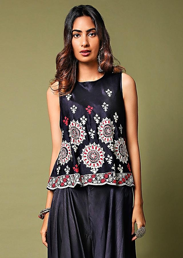 Midnight Blue Top And Waterfall Palazzo Pants Set Adorned In Aari Embroidery Online - Kalki Fashion