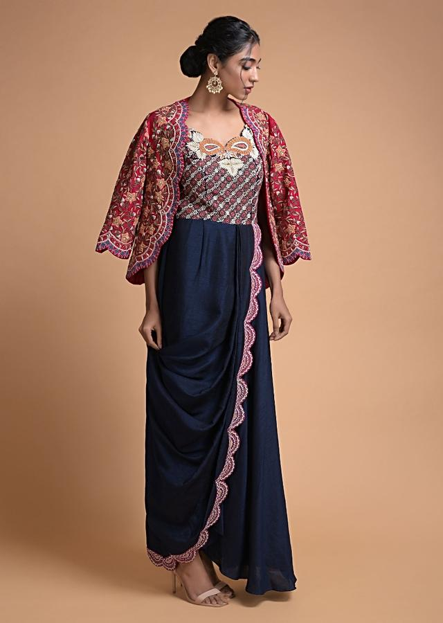 Midnight Blue Tunic In Cotton Silk With Cowl Drape And Red Jacket With Floral Jaal Embroidery Online - Kalki Fashion