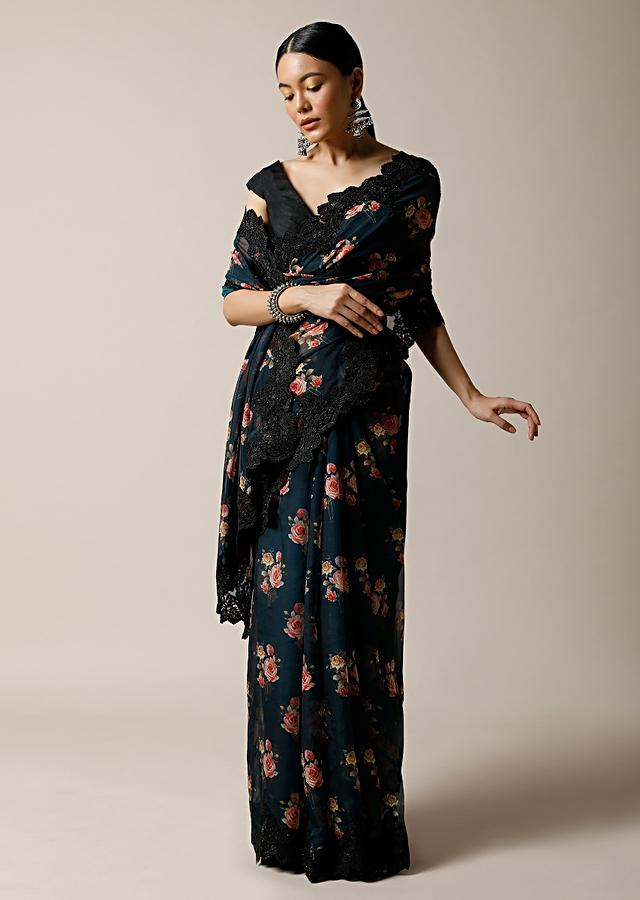 Midnight Teal Blue Saree In Organza With Floral Print And Black Scalloped Lace Along With Unstitched Blouse Online - Kalki Fashion