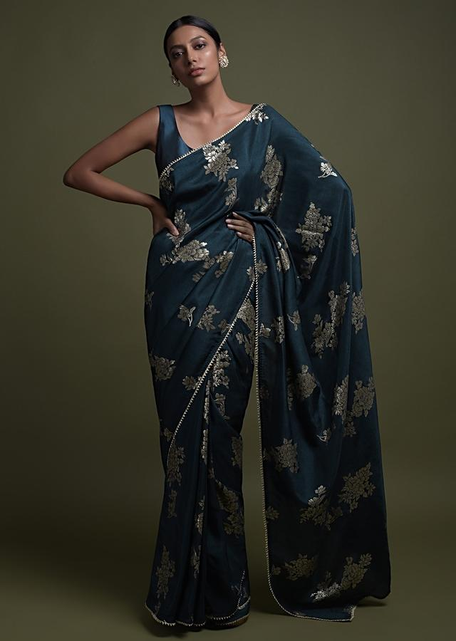 Midnight Teal Saree In Silk Blend With Weaved Floral Motifs In Repeat Pattern Online - Kalki Fashion