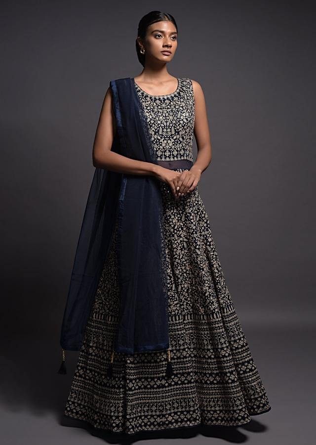 Midnight Blue Anarkali Suit In Raw Silk With Thread And Sequins Embroidered Floral Jaal Online - Kalki Fashion