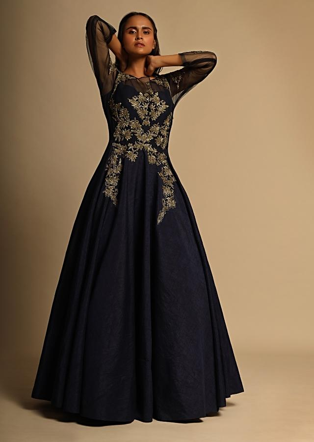 Midnight Blue Ethnic Gown In Raw Silk And Gold Embroidery Online - Kalki Fashion