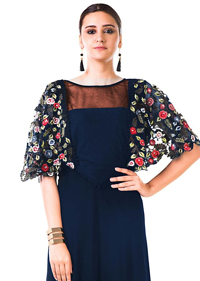 Midnight Blue Gown With Hand Embroidered Cape Style Online - Kalki Fashion